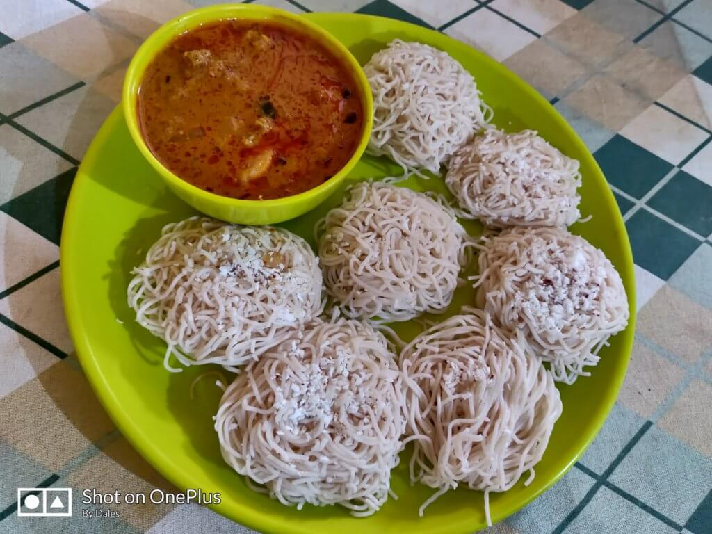 south indian chicken curry and idiappam by cafe idli bhugaon pune